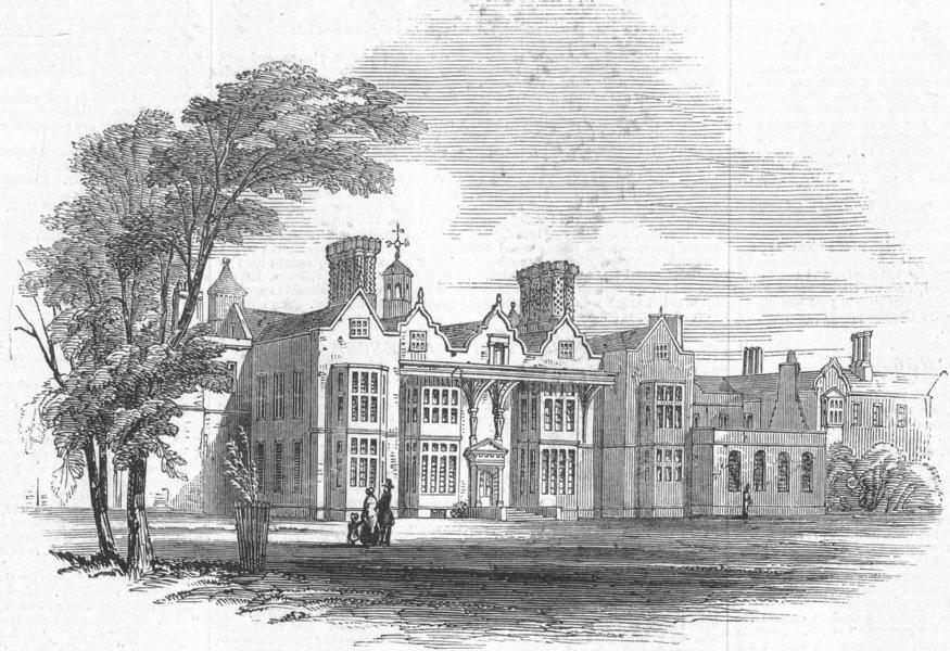 Associate Product ESSEX. Easton Lodge, nr Dunmow, burnt down, antique print, 1847