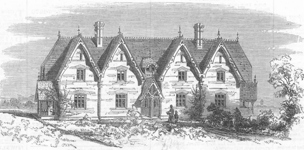 Associate Product NORTHANTS. Model Cottages for workers, Althorp, antique print, 1868