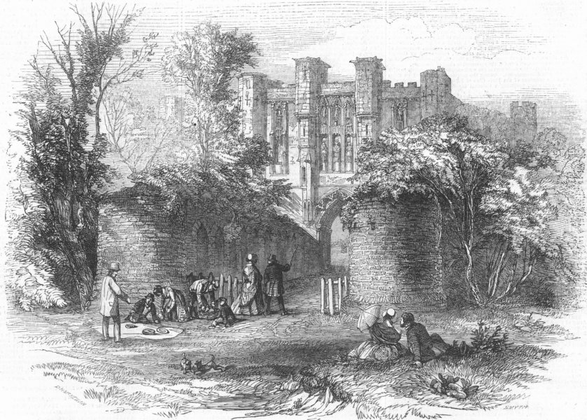 Associate Product LANCS. Thornton College ruins, theRailway, antique print, 1848