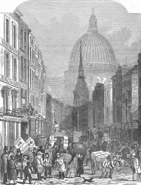 Associate Product LONDON. London Thoroughfare-Fleet St, antique print, 1848