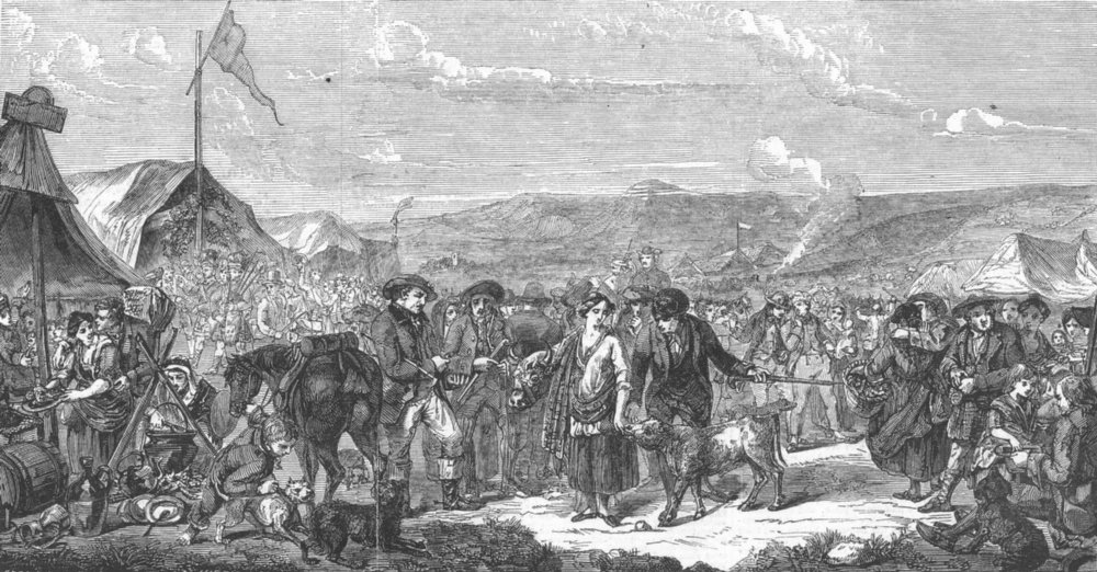 LONDON. Royal Academy Exhibition-Scotch Fair, antique print, 1848
