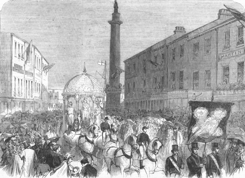 Associate Product YORKS. parade, Wilberforce Monument, Hull, antique print, 1863