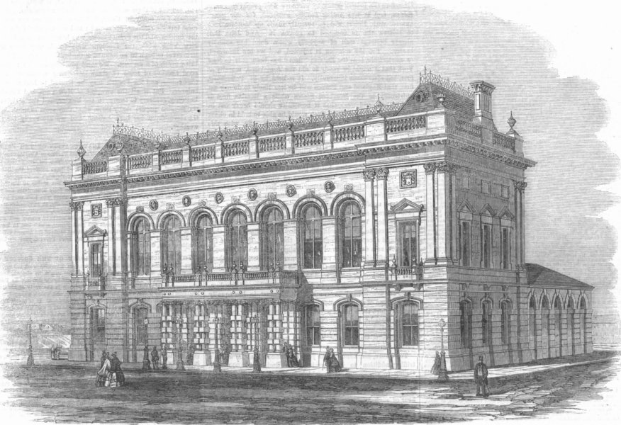 Associate Product LINCS. new Townhall, Gt Grimsby, Lincolnshire, antique print, 1863