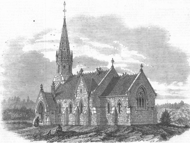 Associate Product LINCS. Memorial Church, Hanworth, Lincolnshire, antique print, 1863