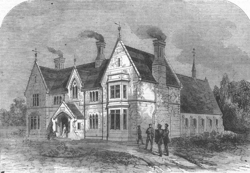 Associate Product HANTS. Mission House & Soldier's home, Aldershot, antique print, 1863