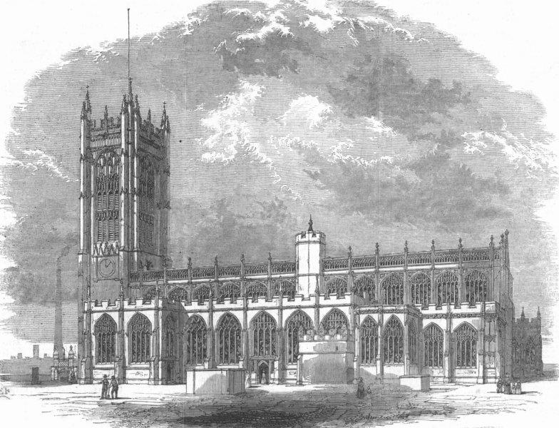 Associate Product LANCS. Manchester Collegiate Church-South view, antique print, 1848