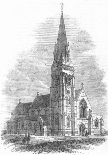 Associate Product YORKS. Trinity Church, Knaresborough, antique print, 1863