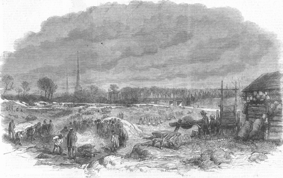 Associate Product WARCS. Weavers levelling Witley Common, Coventry, antique print, 1861
