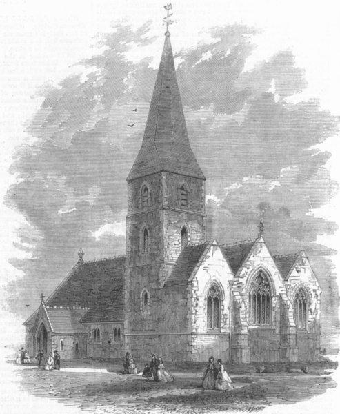 Associate Product KENT. Birchington Church, Kent, restored, antique print, 1865