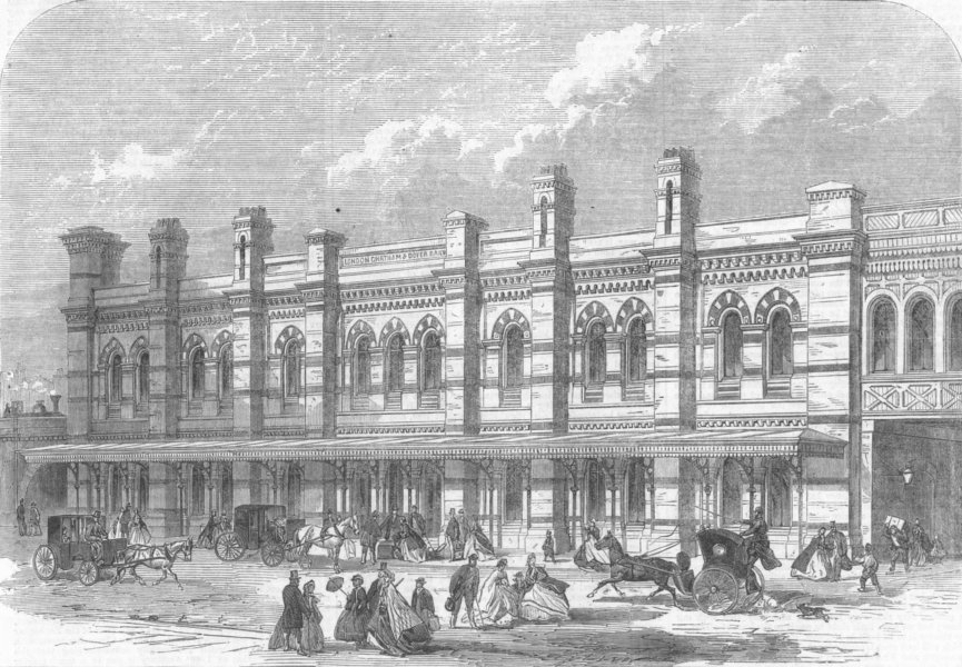 Associate Product LONDON. The Ludgate-Hill Station, antique print, 1865