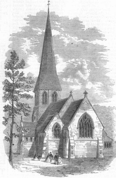 Associate Product HERTS. St Paul's Church, Langleybury, antique print, 1865