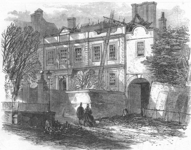 Associate Product LONDON. Cromwell House, Highgate, after fire, antique print, 1865
