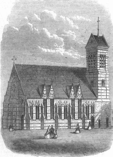Associate Product KENT. Christ Church, Deptford, antique print, 1865
