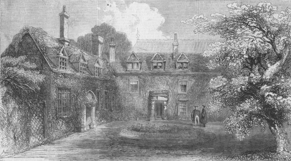 Associate Product OXON. Frewen's Hall, Oxford, House of Prince of Wales, antique print, 1859