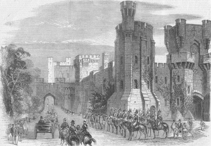 Associate Product WALES. Queen's Arrival, Penrhyn Castle, antique print, 1859