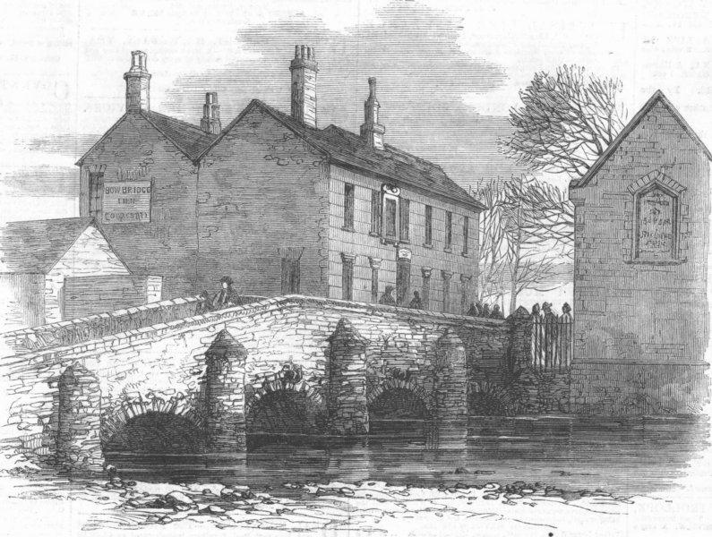 Associate Product LEICS. The old Bow Bridge, Leicester, antique print, 1861