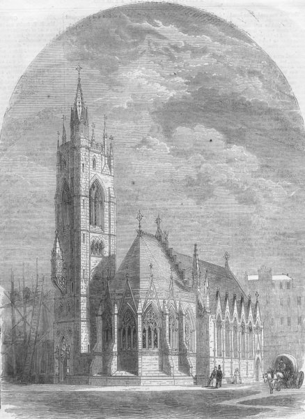 Associate Product SUSSEX. Holy Trinity Church, Hastings, antique print, 1860