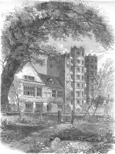 Associate Product ESSEX. Layer Marney Tower, antique print, 1862