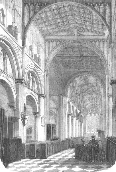 Associate Product WILTS. Salisbury. Cathedral of Christ Church, antique print, 1856