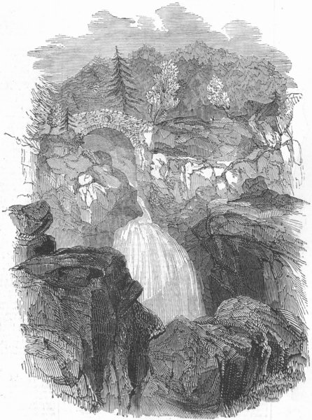SCOTLAND. Lower falls of the Bruar, antique print, 1844