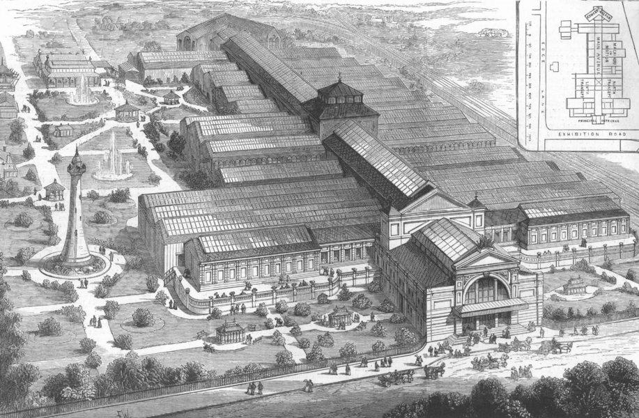 Associate Product LANCS. The Liverpool Exhibition, antique print, 1886