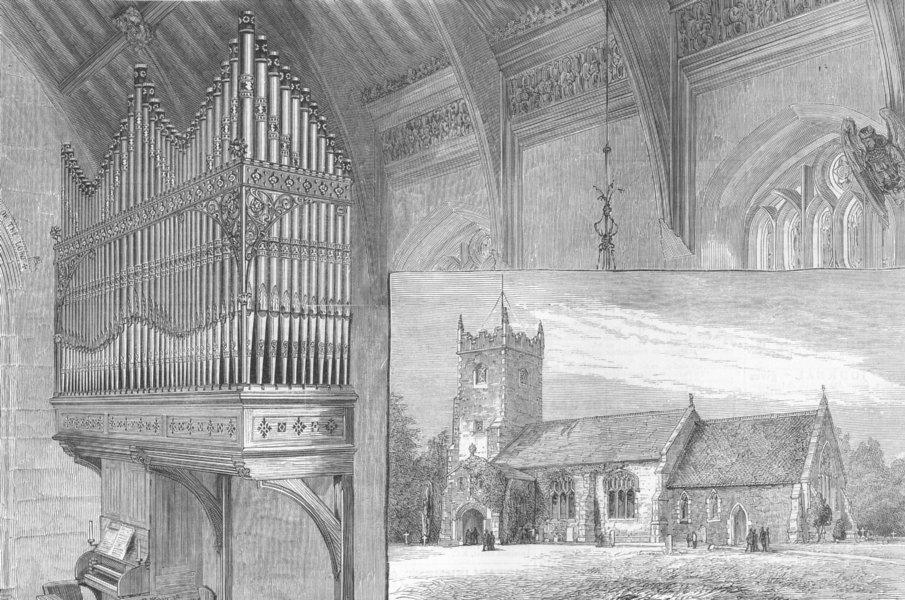 Associate Product NORFOLK. Church of St Mary Magdalene, Sandringham, antique print, 1880