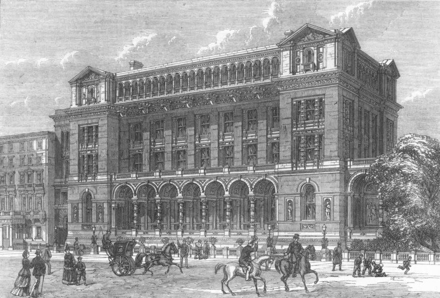 Associate Product LONDON. New Science Schools, South Kensington, antique print, 1872