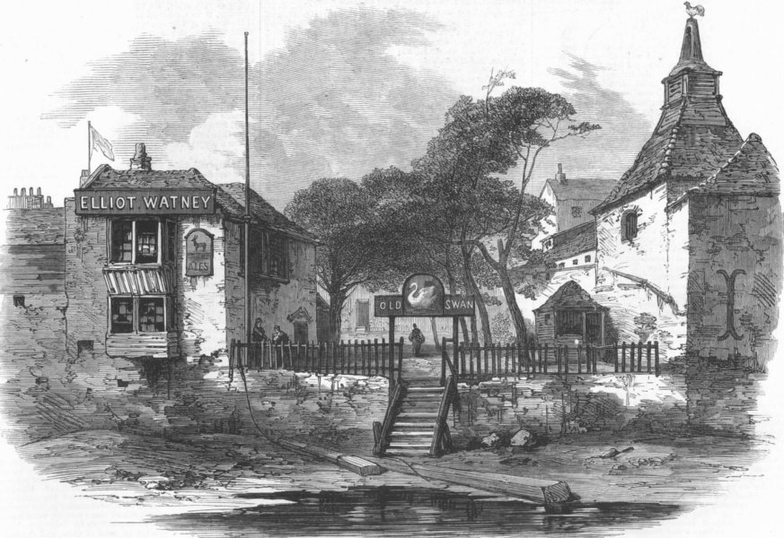 Associate Product LONDON. The old Swan, Chelsea, antique print, 1873