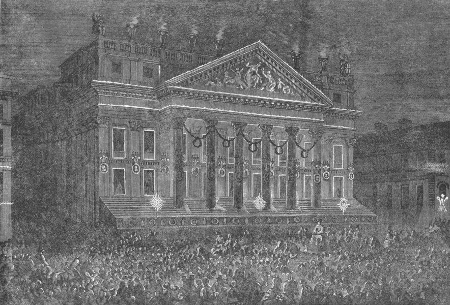Associate Product LONDON. Illumination of Mansion House, antique print, 1863
