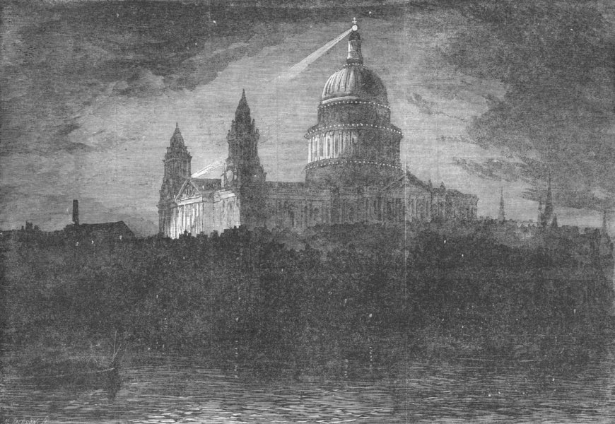 LONDON. St Paul's, from river, night of 10th Inst, antique print, 1863
