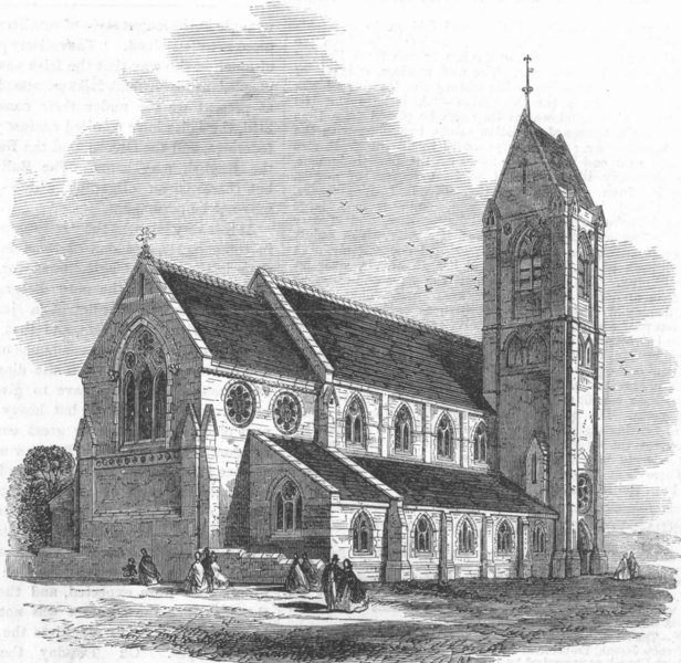 Associate Product YORKS. Church of St Martin-on-Hill, Scarborough, antique print, 1863