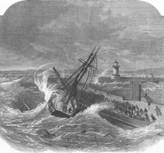 Associate Product KENT. Portuguese Schooner wreck, Ramsgate Pier, antique print, 1870