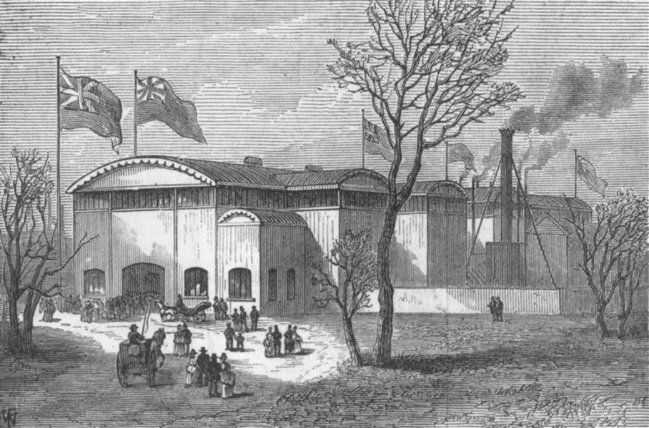 Associate Product LANCS. Exhibition of Scientific Industry, Manchester, antique print, 1874