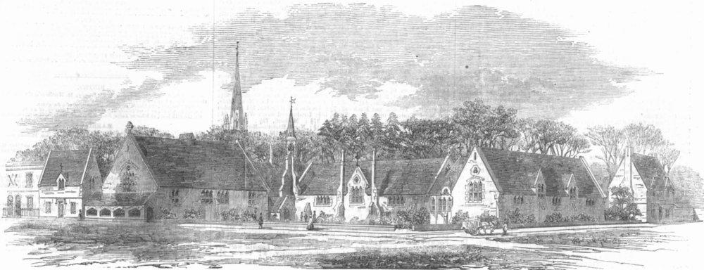 Associate Product KENT. New Parochial Schools, Deptford, antique print, 1856