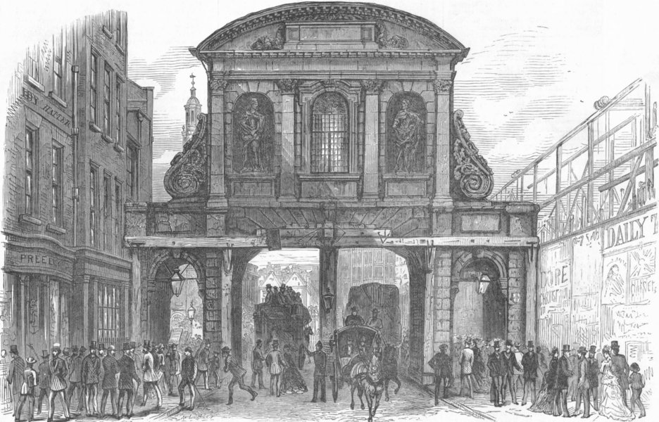 Associate Product LONDON. Temple Bar, looking West, antique print, 1877