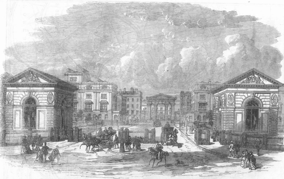 Associate Product LONDON. New entry to Euston Square Station, antique print, 1870