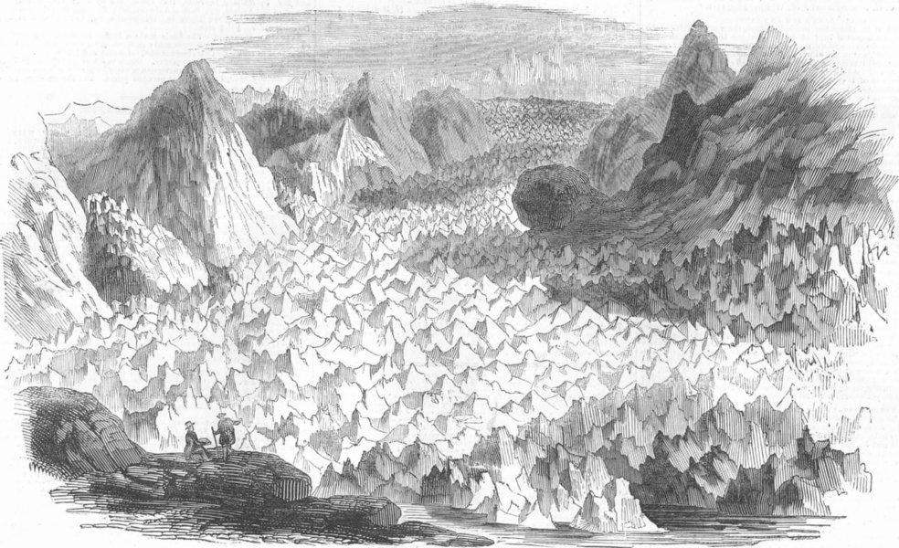 Associate Product SWITZERLAND. Gt Glacier of Lauteraar, antique print, 1844