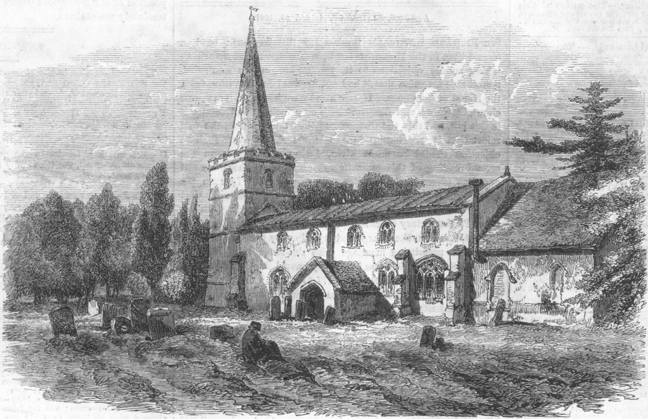 Associate Product CAMBS. Madingley Church, nr Cambridge, antique print, 1861