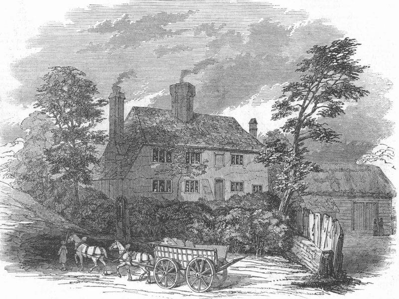 Associate Product SUSSEX. Birthplace of Cobden, nr Midhurst, Sussex, antique print, 1847