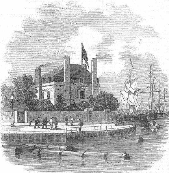 Associate Product LONDON. The Poplar Sailors' Home, antique print, 1854
