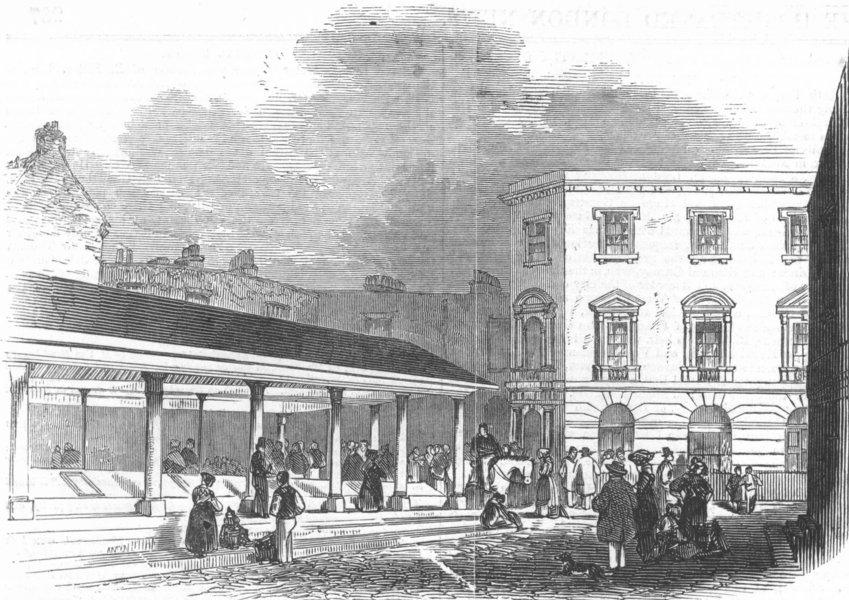 Associate Product LONDON. Hutchison's Market, Aldgate, antique print, 1845
