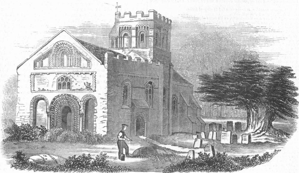 Associate Product OXON. Iffley Church, antique print, 1845