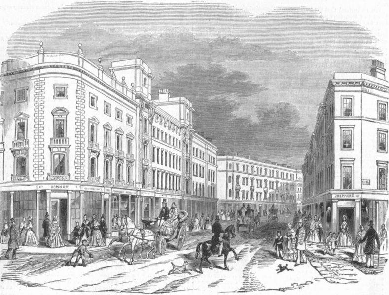 Associate Product LONDON. -Cranbourne St, antique print, 1845