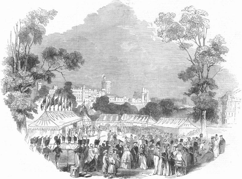 Associate Product BERKS. Windsor Castle. Dinner, Fellows Eyot, antique print, 1844