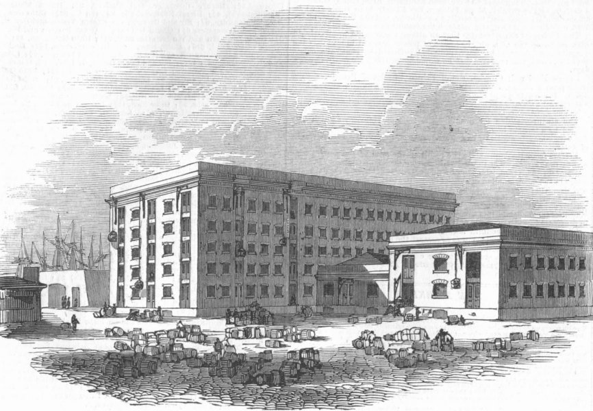 Associate Product LONDON. new Tea Warehouses, docklands, antique print, 1845