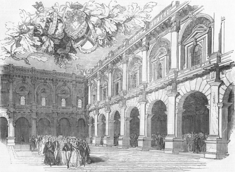 Associate Product LONDON. Royal Exchange opening. Merchants Area, antique print, 1844