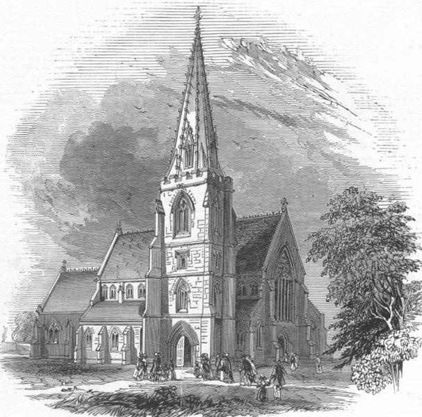 Associate Product WILTS. New Church, Swindon, Gt Western Railway, antique print, 1845