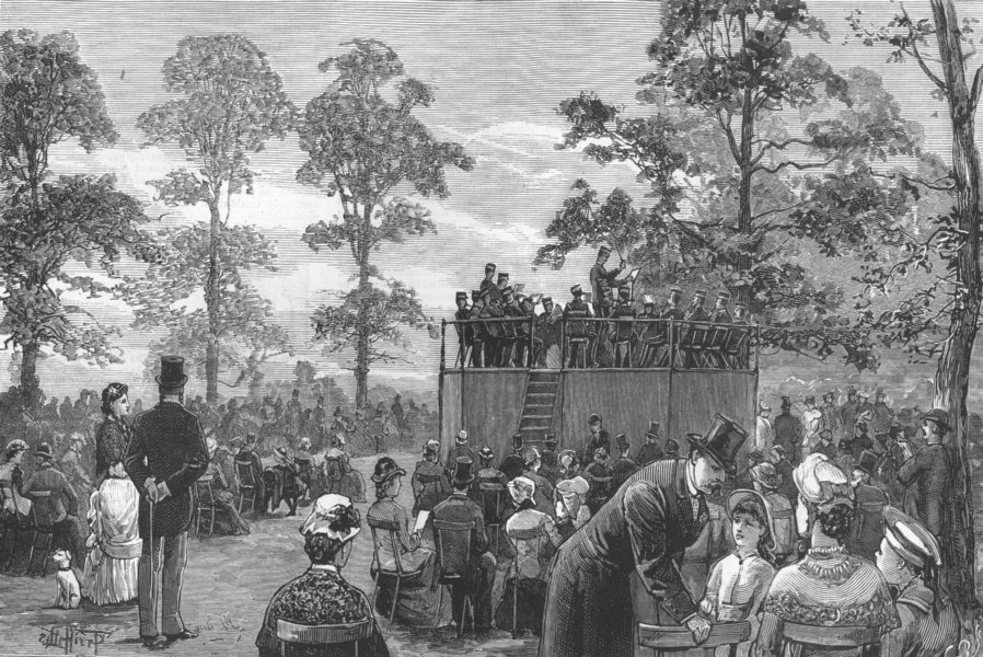 Associate Product LONDON. The band in Hyde Park, antique print, 1881