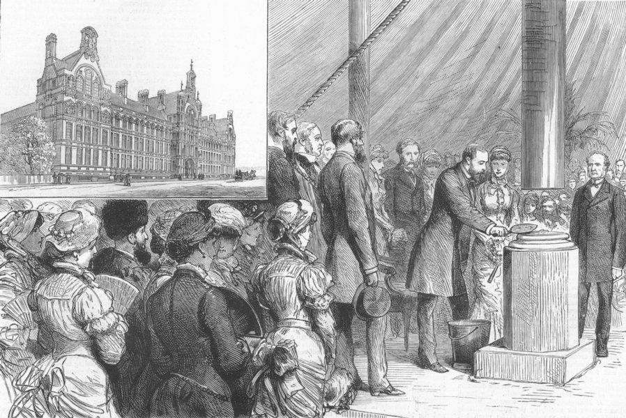 Associate Product LONDON. City & Guilds, South Kensington. keystone, antique print, 1881