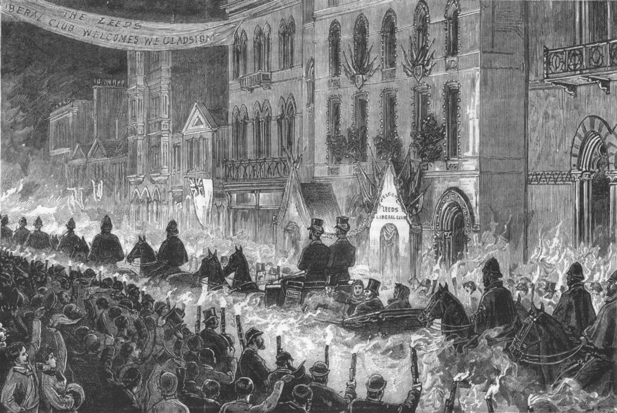 Associate Product YORKS. Gladstone, Leeds-torchlight reception, antique print, 1881